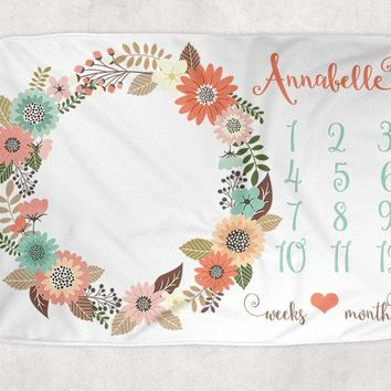 Coral Mint Flower Baby Milestone Blanket, Coral Mint Flower Girl Blanket, Monthly Newborn Photography Blanket, Personalized Baby Shower Gift