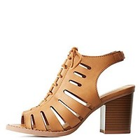 CAGED LACE-UP SANDALS