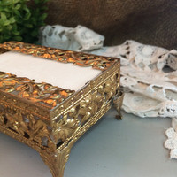 Small Footed Filigree Tissue Box