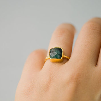 Pre-Holiday SALE- Cushion cut Raw Emerald Ring - Gemstone Ring - Gold Ring - Bezel Ring - May Birthstone Ring