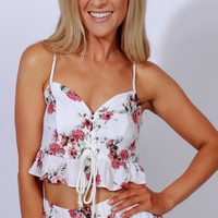 Wandering Florals Crop Top Off White