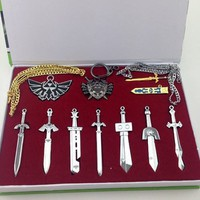 Legend of Zelda Sword and Shield Necklace Set