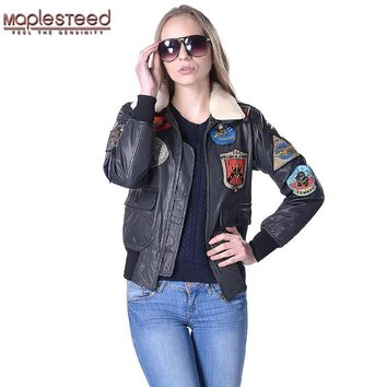 MAPLESTEED Women Leather Jacket Genuine Cowhide Wool Fur Collar Air Force Flight Jacket Pilot Biker Motorcycle Coat Winter 181
