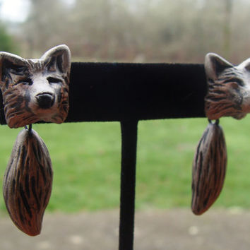 Wolf Earrings Head and Tail Cute Dangle Polymer Clay