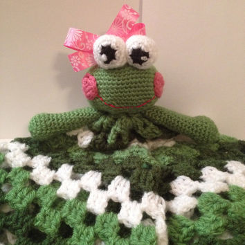 Handmade Crocheted Lovey with Frog Head - Any color & 3 different sizes