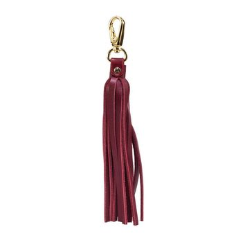 Fringe Power Leather Bag Charm-Cab/Gold