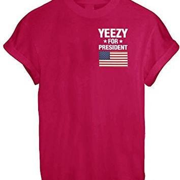 YEEZY FOR PRESIDENT AMERICA GREAT FUNNY THUMBLR T SHIRT TOP KANYE YEEZUS INSPIRE - Red