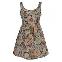 DRESS IN TAPESTRY PRINT