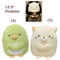 "San-X Sumikko Gurashi ""Things in the Corner"" 13.5"" Large Plush: Penguin Kappa? & Cat"