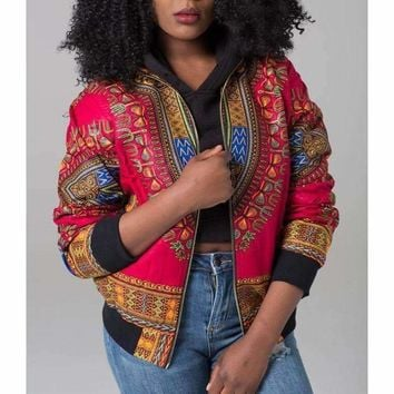African Print Bomber Jacket Women Fall Winter Long Sleeve Zip Up