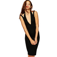 Black Halter Strap V-Neck Dress