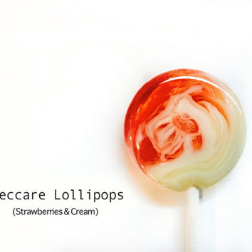 6 Swirl Lollipops // Strawberries and Cream // Sweet Treat  // Red and White Candy // Summer Wedding Favors // Add Custom Labels