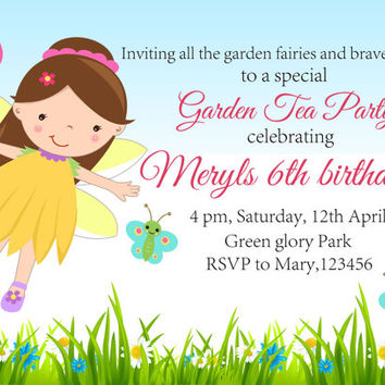 Fairy invitation birthday party invite printable digital file girl birthday