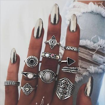 VONEYW7 hot style joint ring sells vintage national wind and exaggerated gem combinations of 10 sets of rings