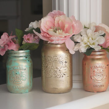 Set of 3 Mason Jars, Mason Jar Vases, Gold Vases, Gold Centerpiece, Spring Centerpiece, Spring Vases, Spring Decor, Gold Mason Jars, Painted