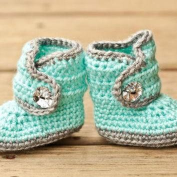 PEAPNO Crochet Baby Booties - Baby Boots - Mint Teal and Grey Baby Shoes Bling - Bling Baby B