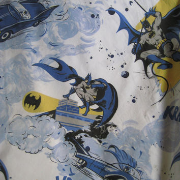 Batman Robin DC Comic Super Hero Pottery Barn Bedding Flat Sheet FULL Size Bed Boy Kids Bedding Cotton Craft Fabric Material Used Clean