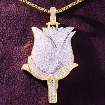 Iced Out Savage Rose Flower Petals Two Tone Custom Pendant