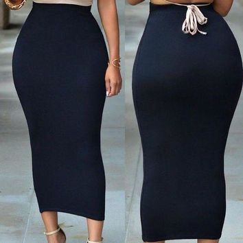 Women Ladies Elegant Skirt Bandge Bodycon High Waist Pencil Bodycon Maxi Skirt Long Skirts Black Gray Greenfashion Plus Size