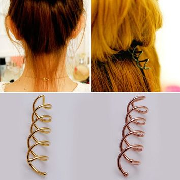LNRRABC Golden/Rose Gold Women Hairpin Plate Dispenser Spiral Aolly Plated Hairdressing Tool Tiaras Woman Hair Jewelry