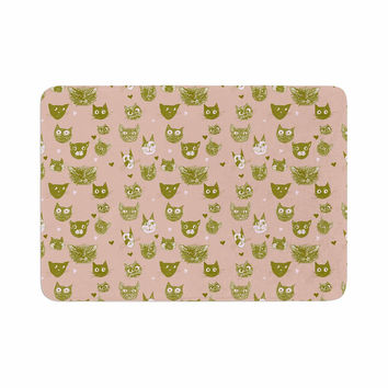 "Marianna Tankelevich ""Vintage Cats"" Pink Pattern Memory Foam Bath Mat"