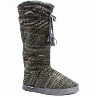 Muk Luks Grommet Women's Slipper Knit Sweater Boots Sherpa