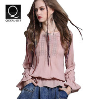 Qideal-L 2016 New Vintage Autumn O Neck Embroidery Butterfly Sleeve Loose Shirt Women Blouses All-match Causal Street Women Tops
