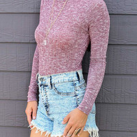 Turtleneck Mixed Cable Knitted Bodysuit
