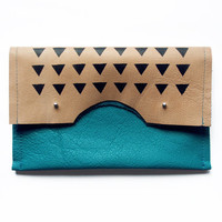 FOLD OVER CLUTCH // teal and mushroom coloured leather with black triangels