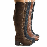 Victoria01 Thigh High Faux Wooden High Heel Riding Boots