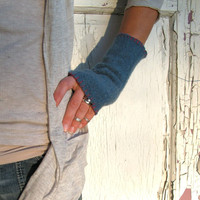 Blue Fingerless Gloves with Red Blanket Stitch, Felted Wool, Arm Warmers, FIngerless MIttens