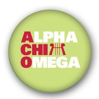 Alpha Chi Omega Sorority Spirit Button - Stacked - Alpha Chi Omega - Greek