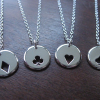 Four Playing Card Suit Charms Silver Necklace by GorjessJewellery