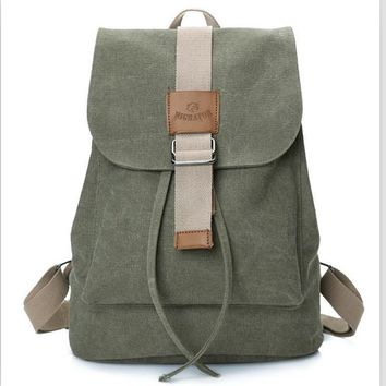 Fashionable draw string canvas backpack Army green