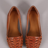 Bamboo Strappy Woven Slip On Flat