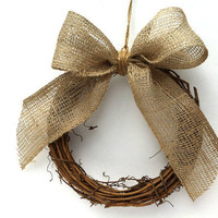 Pew wreaths and burlap bows vineyard and rustic wedding ceremony decorations set of six