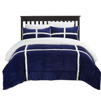 Camille Mink Chloe Sherpa Lined 3 Piece Comforter Set King & Queen Navy