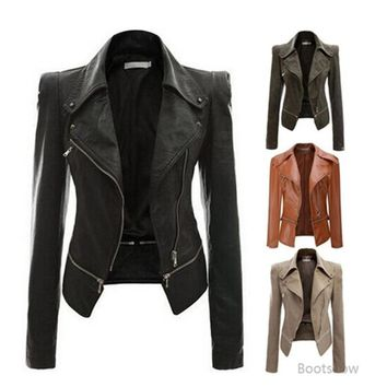 Autumn Women Faux Leather Jacket Slim Fit Motorcycle Jacket With Zipper Casual Leather Coat Outerwear Women Clothing 4XL 705000