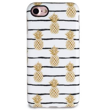 Gold Pineapple Case Cover for iPhone X 8 6S 7 Plus &Gift Box