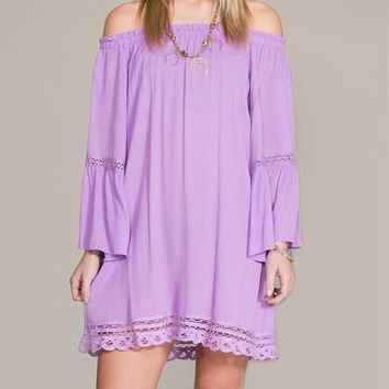 Eliza Bella for Flying Tomato NEW Lavender Boho Hippie Off Shoulder Bell Sleeve