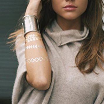 TribeTats Flash Tattoos | Armbands & Body Decals 2 Sheet Pack (22 Metallic Tattoos Included)