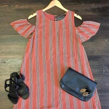 Own the Night Striped Dress: Burnt Orange