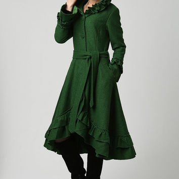 Womens Dark Green Wool Maxi Coat with Hood (1120)