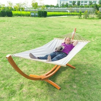 White Cotton Polyester Hammock with 10.5 Ft Crescent Wood Stand
