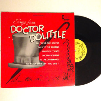 Rare LP Album Songs From Doctor Dolittle Vinyl Record Walt Disney Mike Sammes Singers Sixties Children