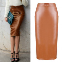 Sexy Women Synthetic Leather Skirt Stretchy Bodycon Midi Pencil Skirt 2 Colors