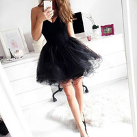 Black Sweetheart Strapless Organza Mini Homecoming Dress With Lace Up Back