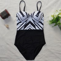 New Style  one piece swimwear monokini black white printed stripped Push Up Sexy Women Swimsuit Bathing Suit