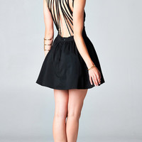 BLACK STRANDED BACKLESS DRESS | PUBLIK | Women's Clothing & Accessories