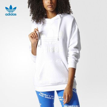 """Adidas"" Women Sport Casual Solid Color Letter Clover Loose Long Sleeve Hooded Sweater Pullover Sweatshirt"